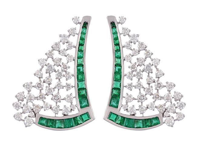 Ananya Scatter diamond and emerald earrings