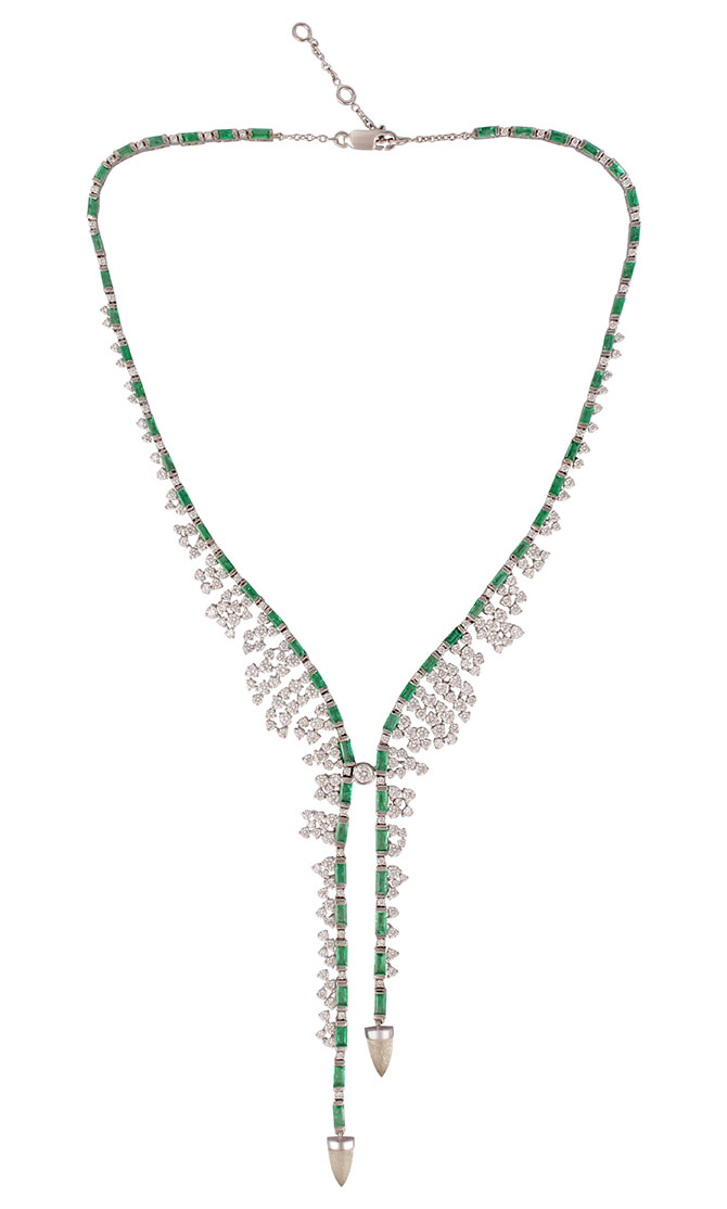 Ananya Scatter emerald and diamond necklace