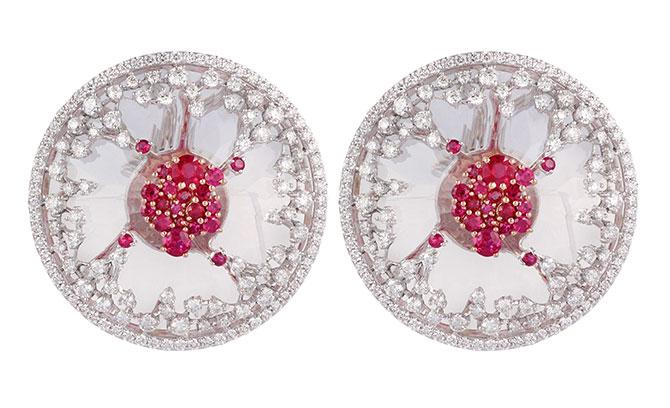 Ananya Scatter ruby floating earrings