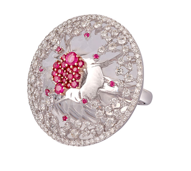 Ananya Scatter ruby ring