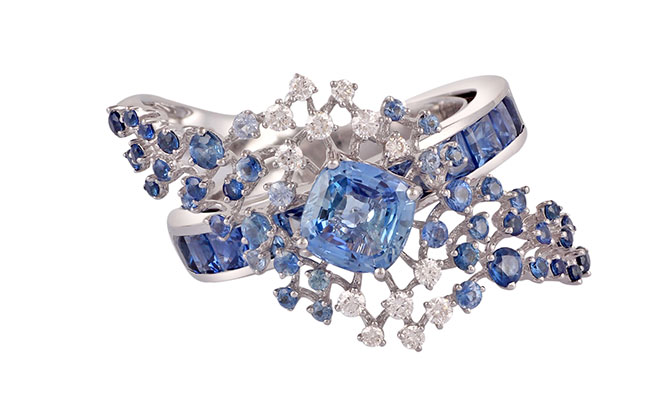 Ananya Scatter sapphire ring