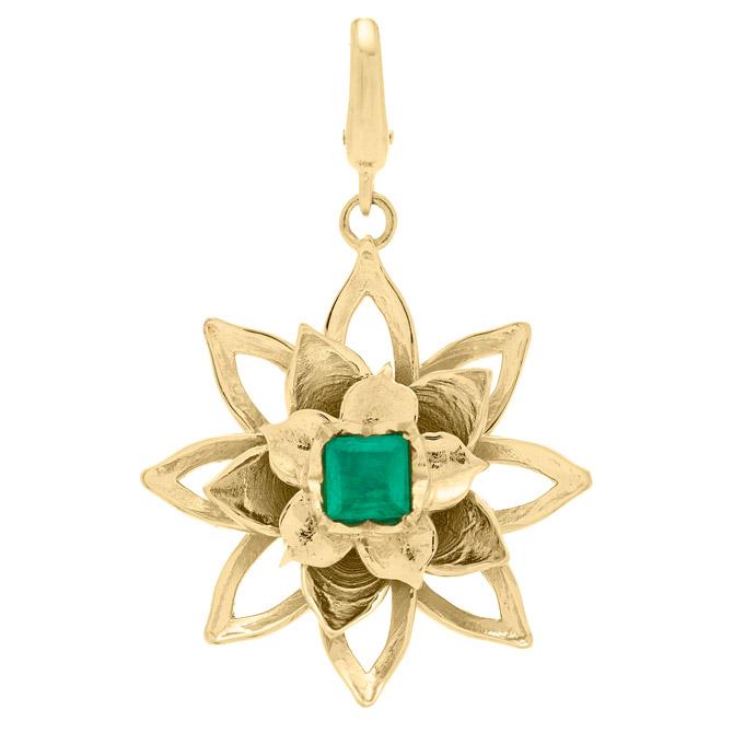 Rush Jewelry Design lotus emerald charm