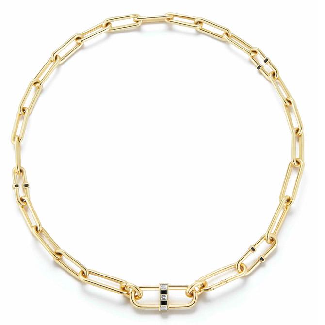 Deborah Pagani Pill link necklace as a choker