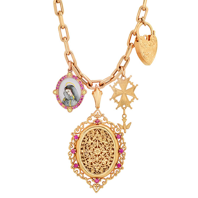 Colette charms and lock necklace