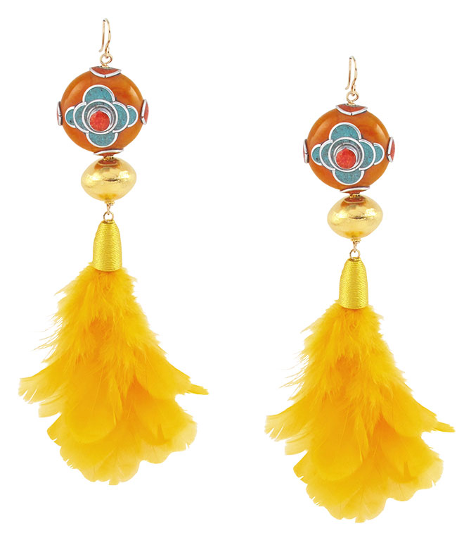 Devon Leigh yellow feather earrings