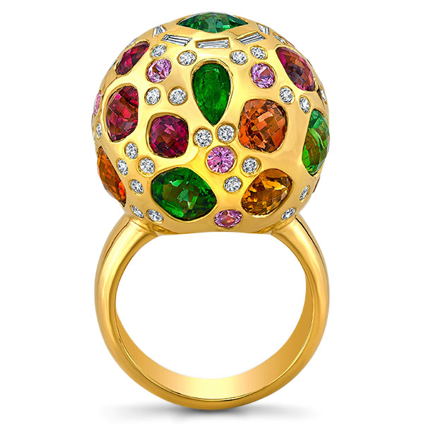 Dorian and Rose golden globe gemstone ring