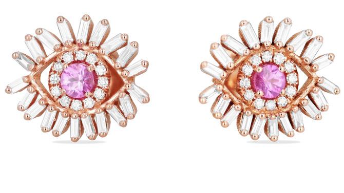 Suzanne Kalan Evil Eye pink sapphire earrings