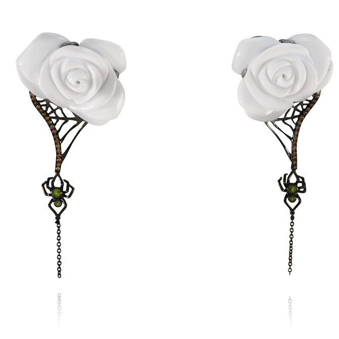 Lydia Courteille rose and spider earrings