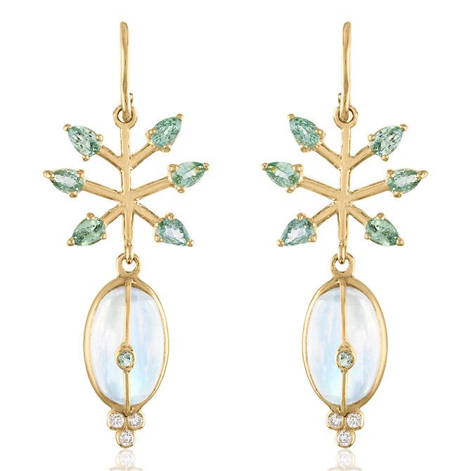 Loriann Jewelry moonstone and green sapphire earrings