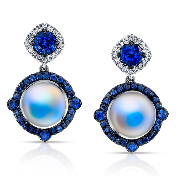 Omi Prive moonstone and sapphire earrings