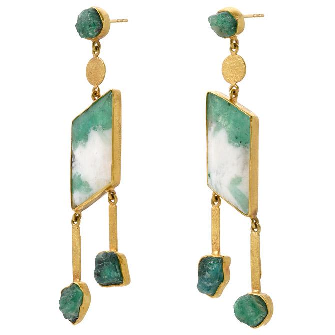 JS Noor emerald dangle earrings