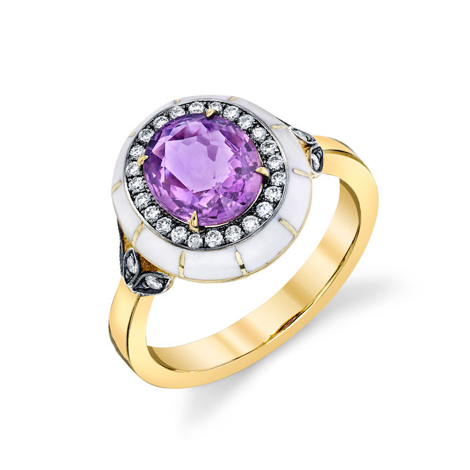 Lord Jewelry pink sapphire ring white enamel