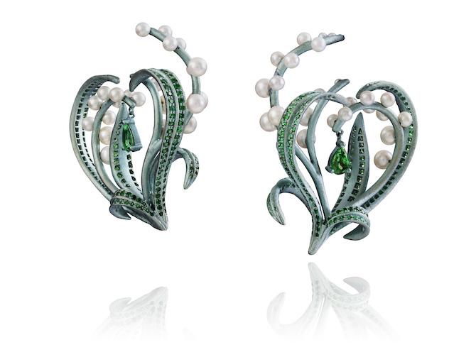 Lydia Courteille pearl tsavorite earrings