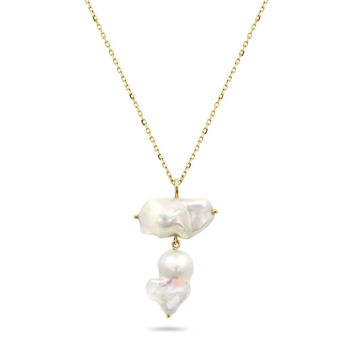 White Space double baroque pearl necklace