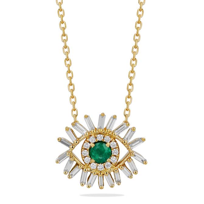 Suzanne Kalan emerald Evil Eye necklace