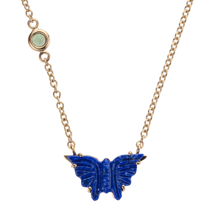 Jane Winchester carved lapis butterfly necklace