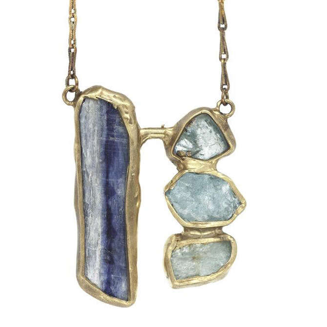 Waterfall necklace in brass with aquamarine and kyanite, $198; Emilie Shapiro