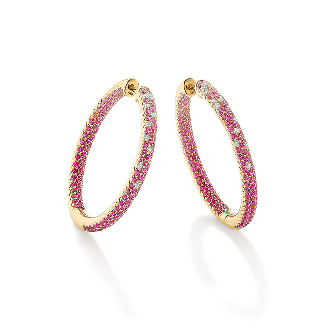 Robinson Pelham pink sapphire pave hoops