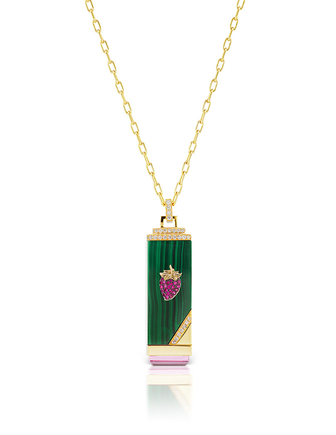 Sorellina strawberry malachite pendant