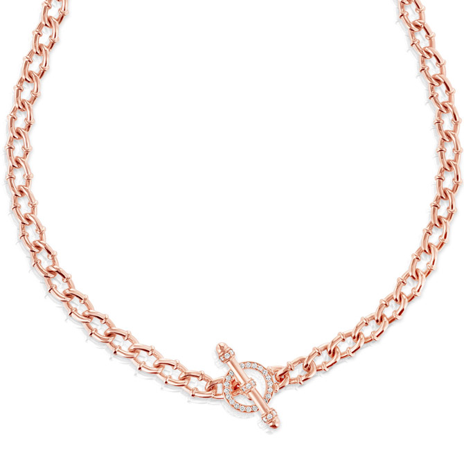 Carbon and Hyde rose gold Link necklace