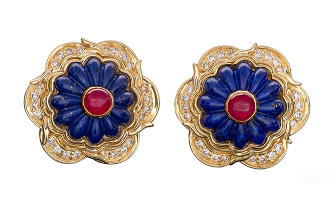 Harry Winston lapis ruby diamond earrings