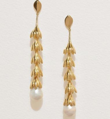 Pamela Love gold and pearl earrings