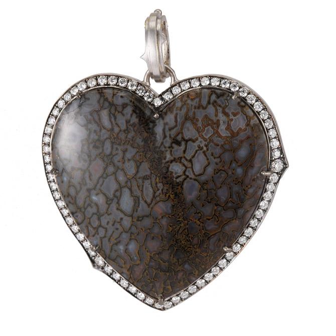 Sylva and Cie mammoth bone heart pendant
