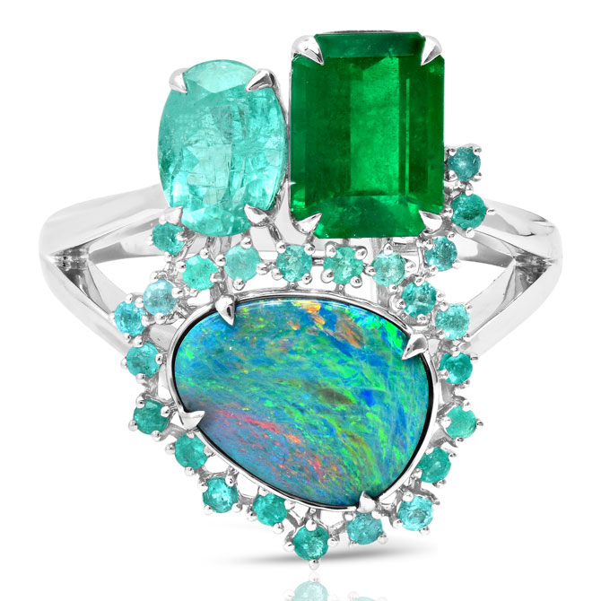 Graziela gemstone cluster ring