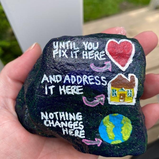 Lauren Kessler hand painted rock