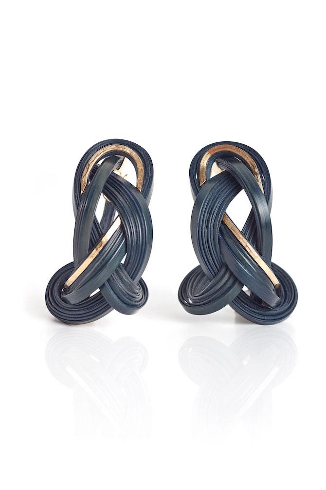 Silvia Furmanovich navy bamboo earrings