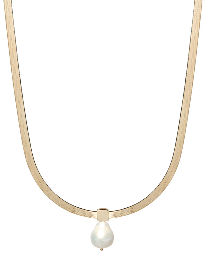 Zoe Chicco baroque pearl herringbone necklace