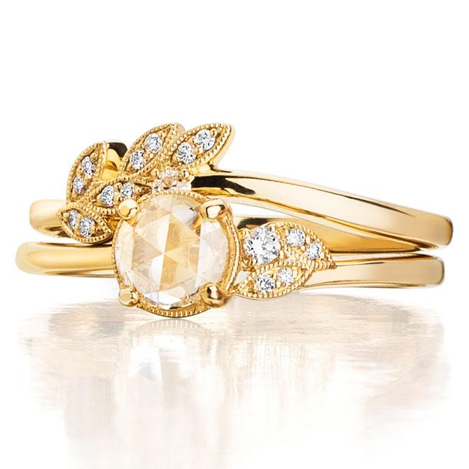 Kirk Kara rose cut diamond engagement set
