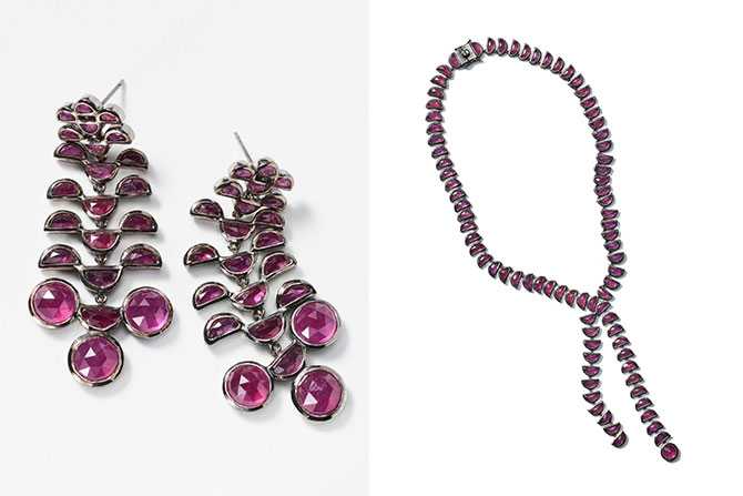 Nakard ruby earrings and lariat