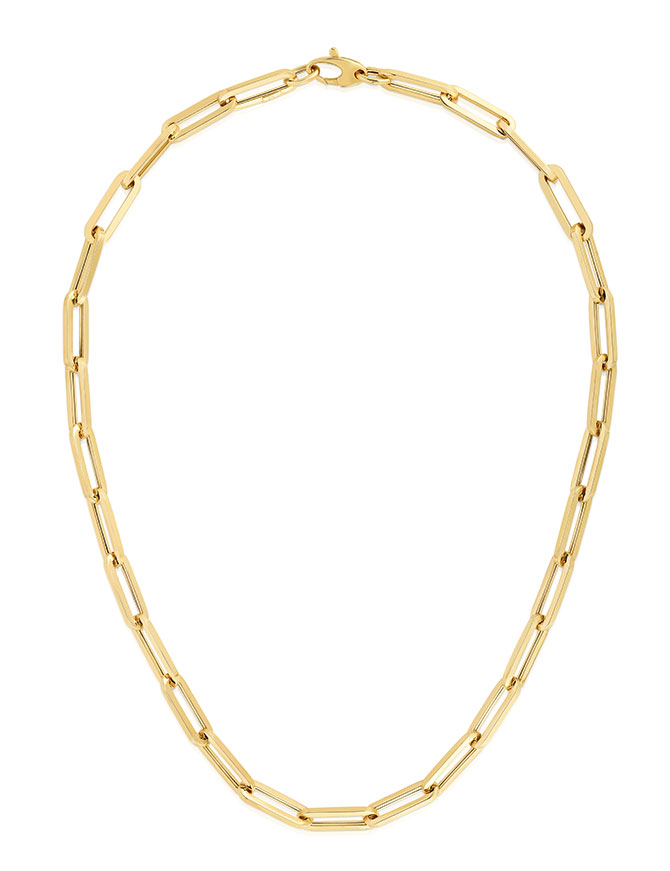 Royal Chain gold paper clip chain necklace