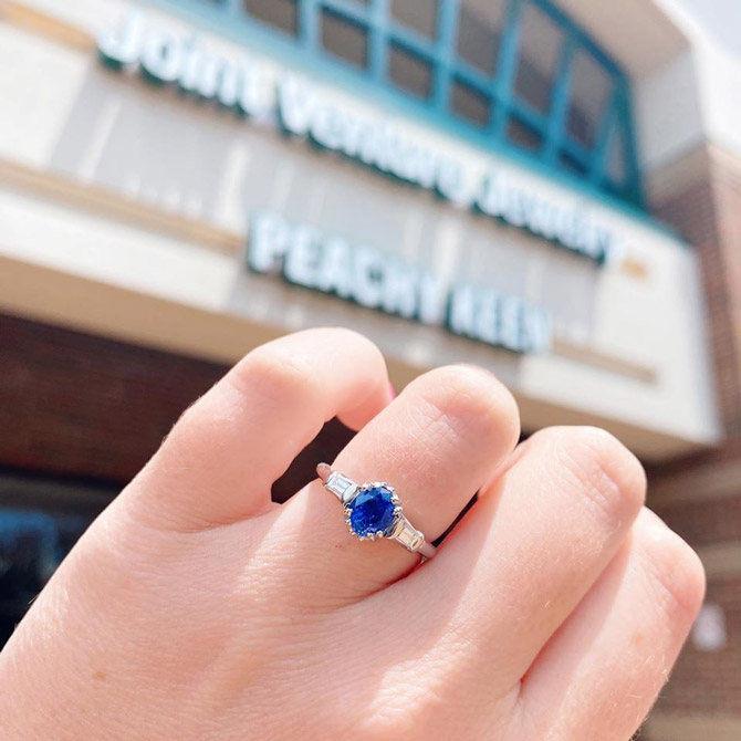 A sapphire engagement ring from Joint Venture Jewelry