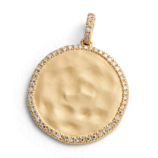 August June hammered gold charm