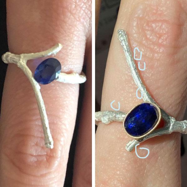 Balefire Goods sapphire ring in progress
