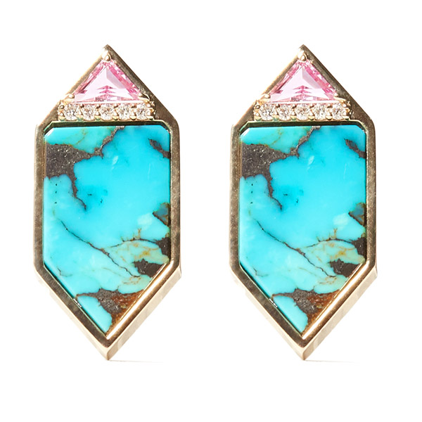 Campbell and Charlotte turquoise Hexagon stud earrings