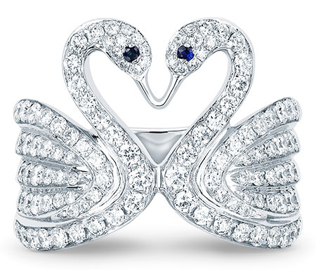 EF Collection diamond swan pinky ring