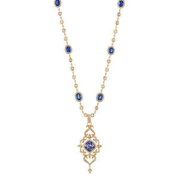 Ericaa Courtney tanzanite Flower Burst necklace