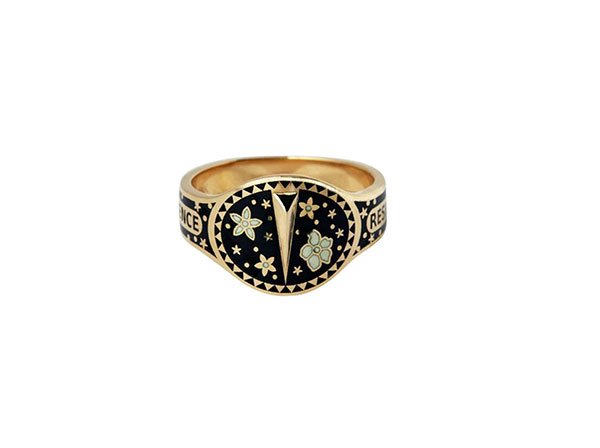 Foundrae Resilience gold and enamel ring