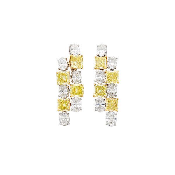 Graff yellow and white diamond earrings