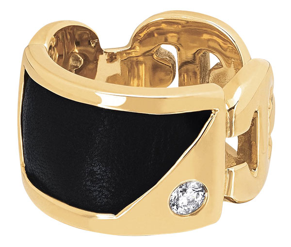 Hoorsenbuhs lounge leather diamond kiss ring