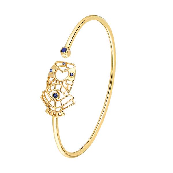 ITA Atabex cutout gold bracelet with sapphire