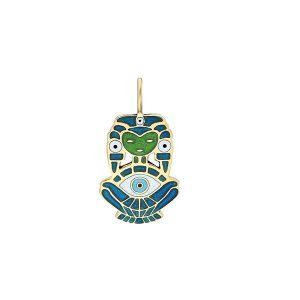 ITA Atabex enamel and gold pendant
