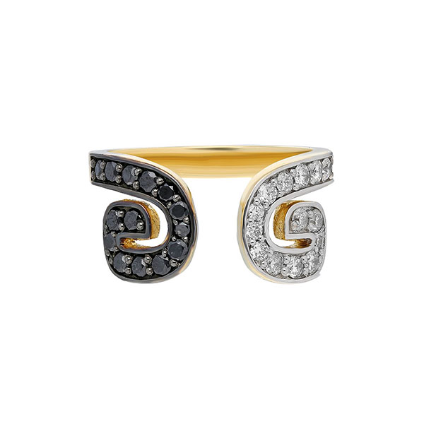 ITA Txirimiri gold and black and white diamond ring
