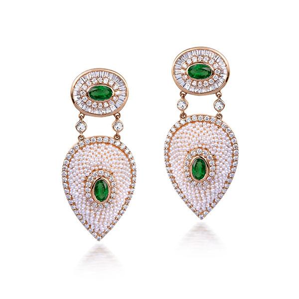 Moksh emerald and pearl earrings