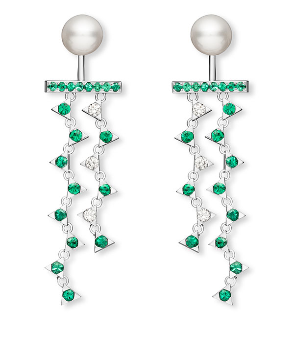 Nouvel Heritage pearl emerald and diamond earrings