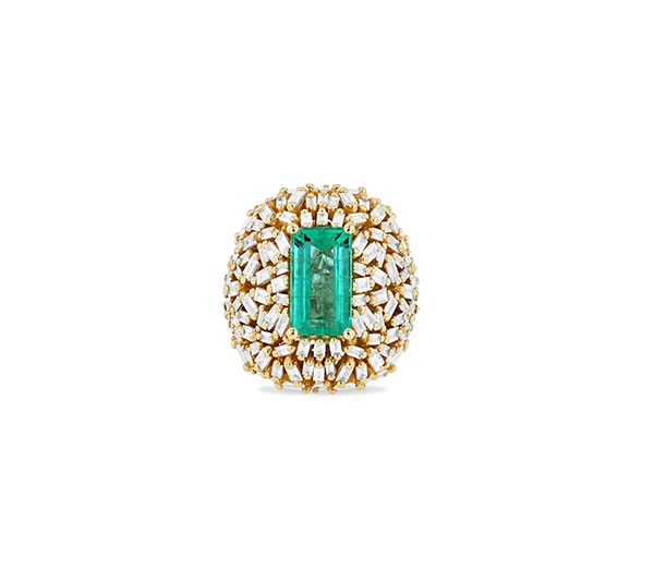 Suzanne Kalan emerald and diamond baguette ring