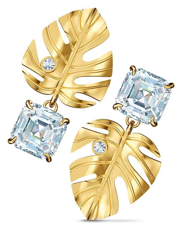 Swarovski tropical gold tone leaf earrings